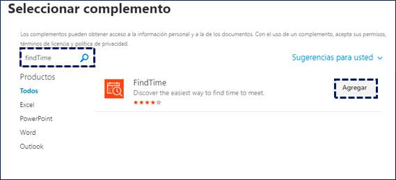microsoft-365-findtime-seleccionar-complemento