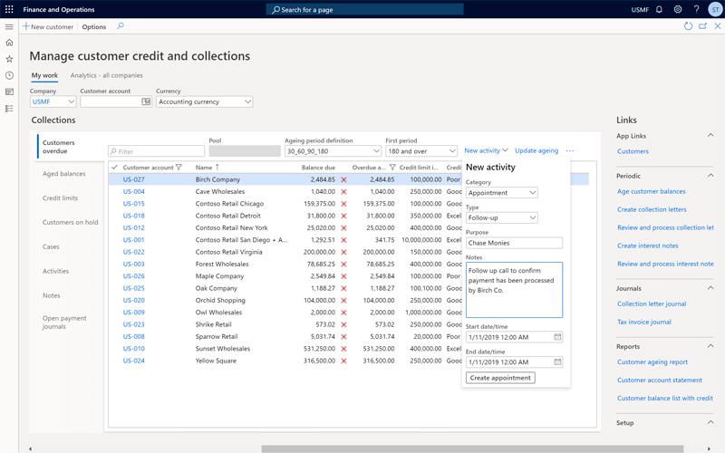programar seguimiento en Dynamics 365 Finance